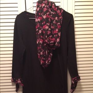 Black and pink-flower midi dress with scarf